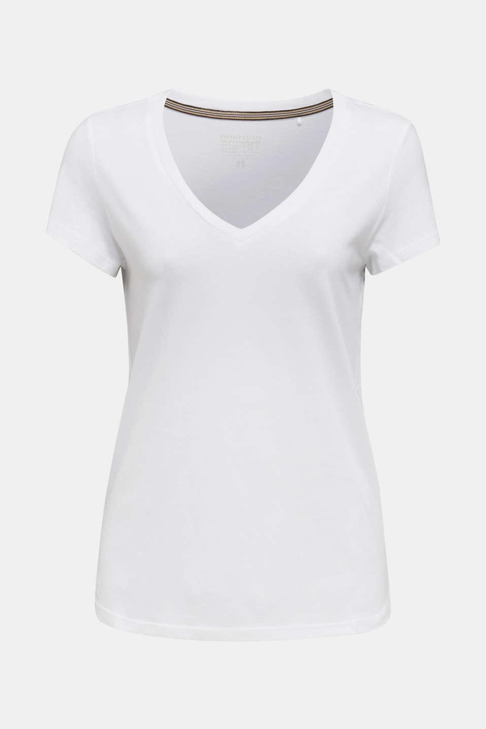 V-neck top made of blended cotton, WHITE, detail image number 5