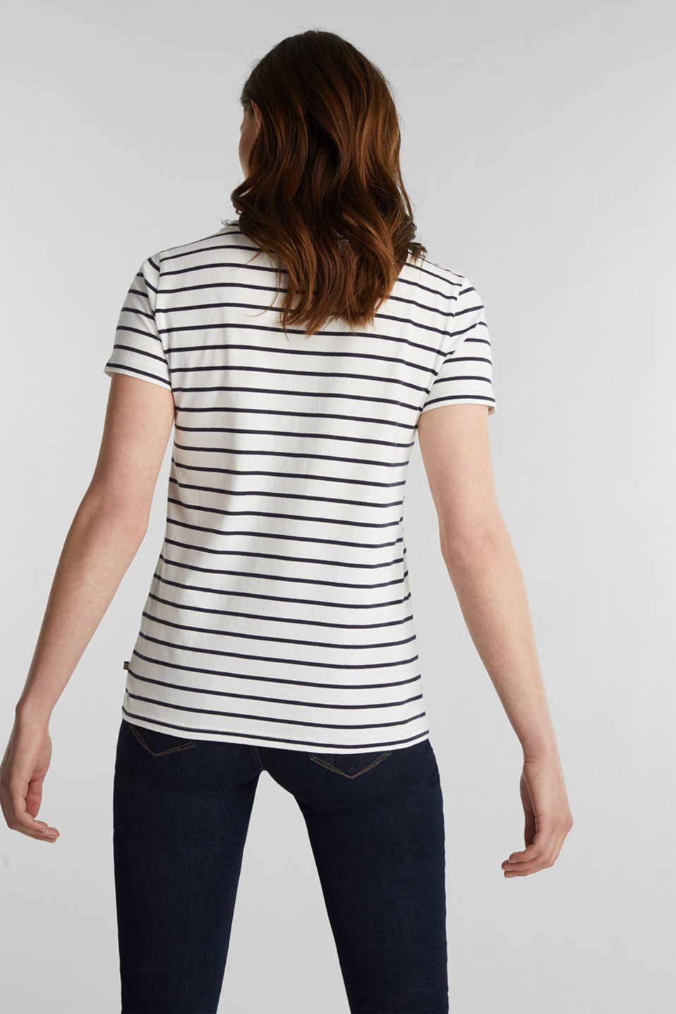 T-shirt with stripes, 100% cotton, OFF WHITE, detail image number 3