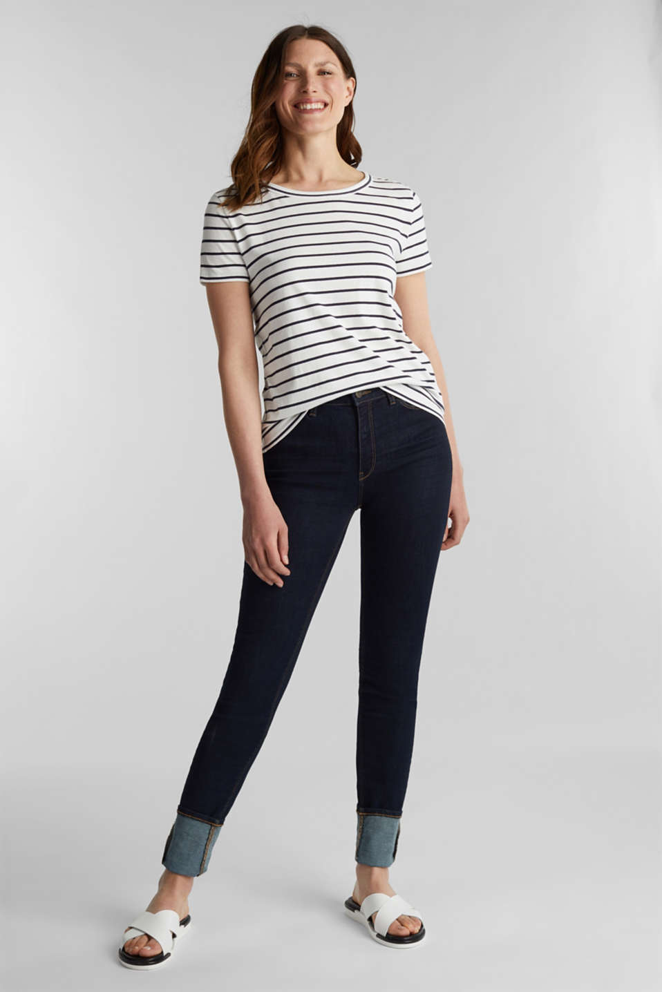 T-shirt with stripes, 100% cotton, OFF WHITE, detail image number 5