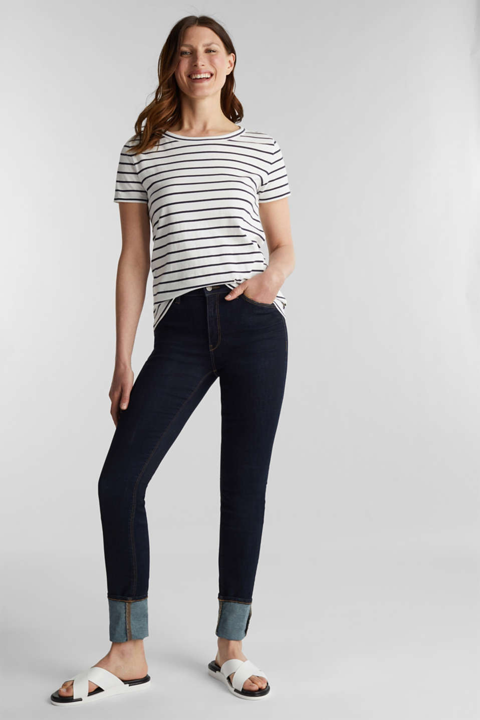 T-shirt with stripes, 100% cotton, OFF WHITE, detail image number 1