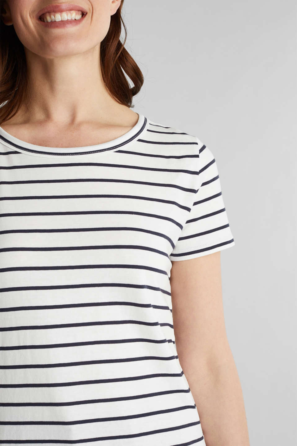 T-shirt with stripes, 100% cotton, OFF WHITE, detail image number 2