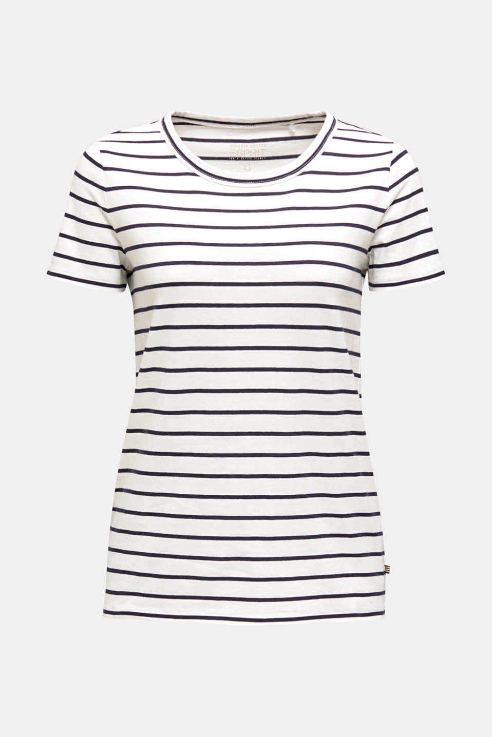 T-shirt with stripes, 100% cotton, OFF WHITE, detail image number 6