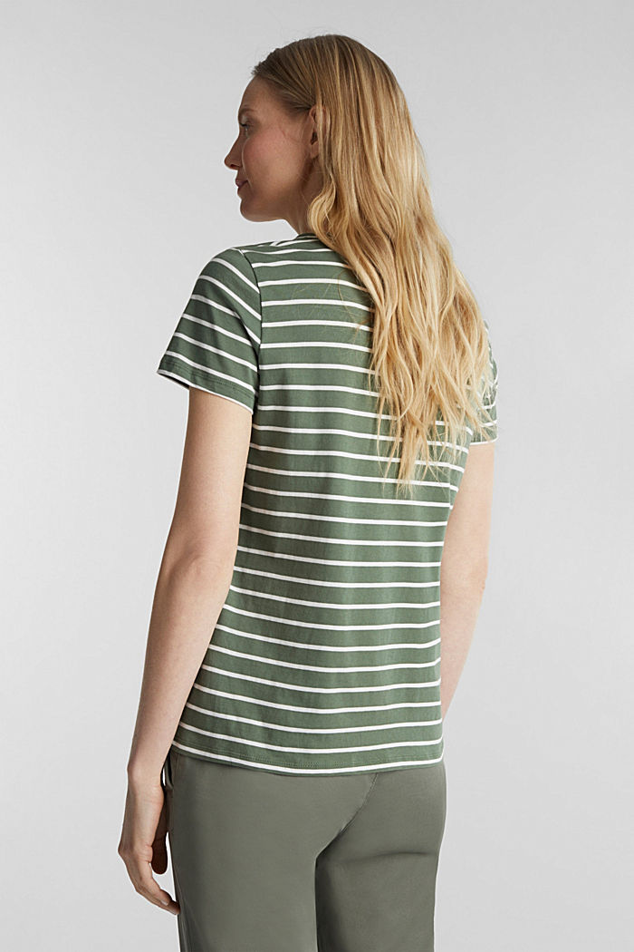 T-shirt with stripes, 100% cotton, KHAKI GREEN, detail image number 3