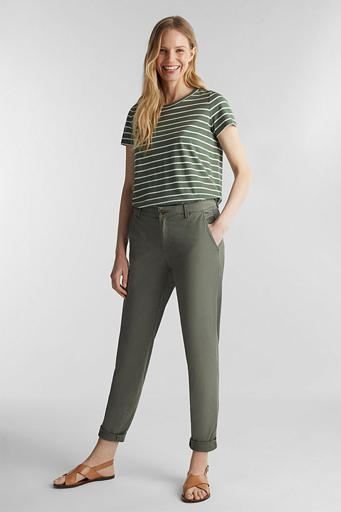 T-shirt with stripes, 100% cotton, KHAKI GREEN, detail image number 1