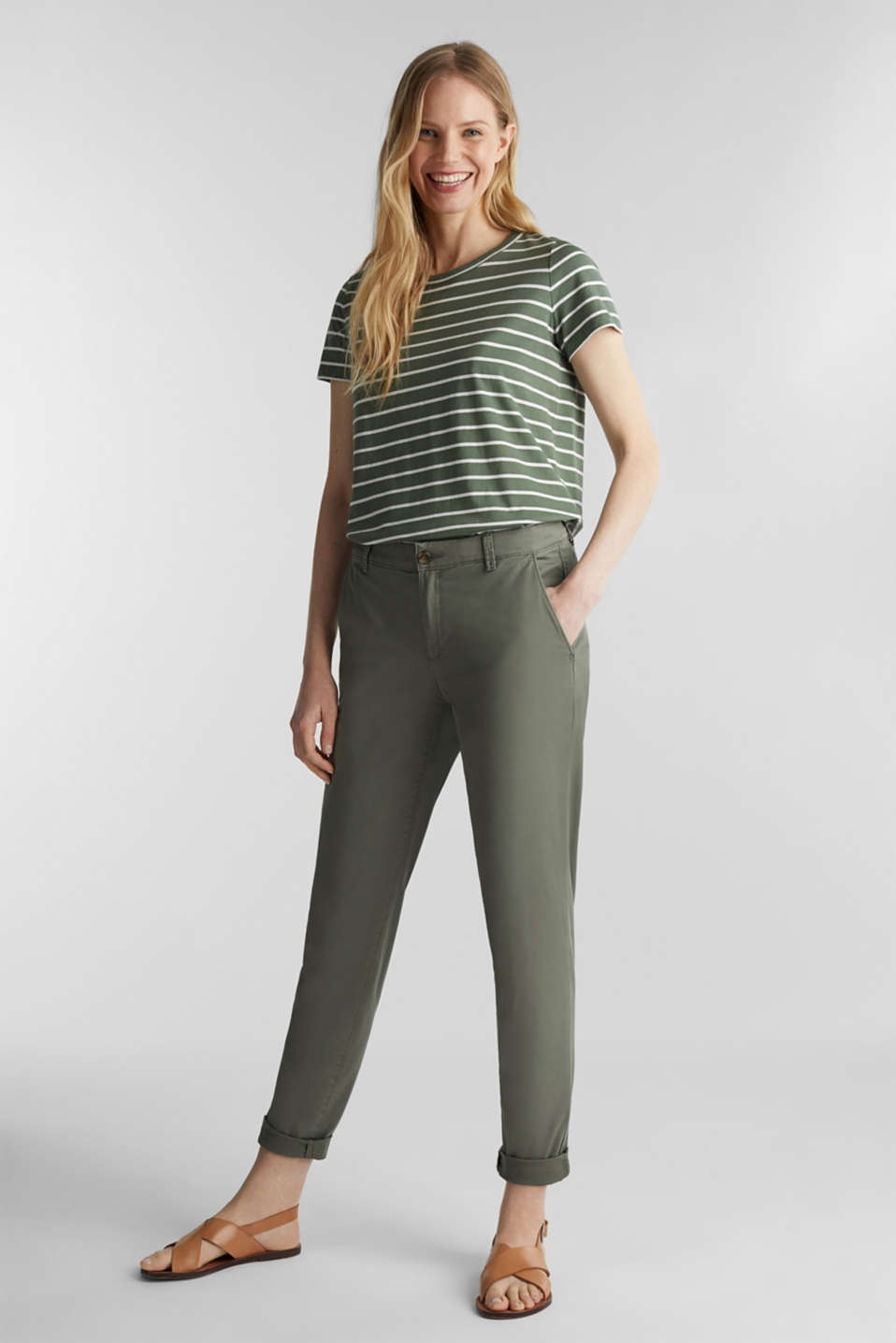 T-shirt with stripes, 100% cotton, KHAKI GREEN 4, detail