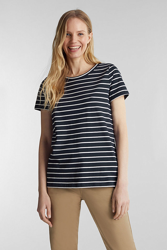 T-shirt with stripes, 100% cotton, NAVY, detail image number 0