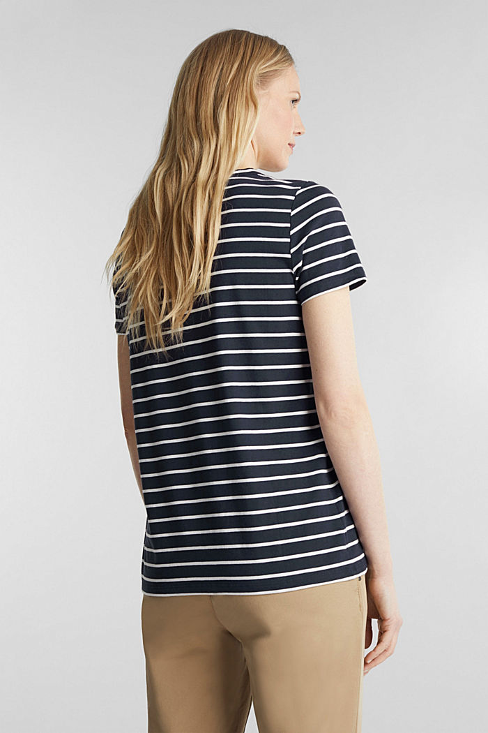 T-shirt with stripes, 100% cotton, NAVY, detail image number 3