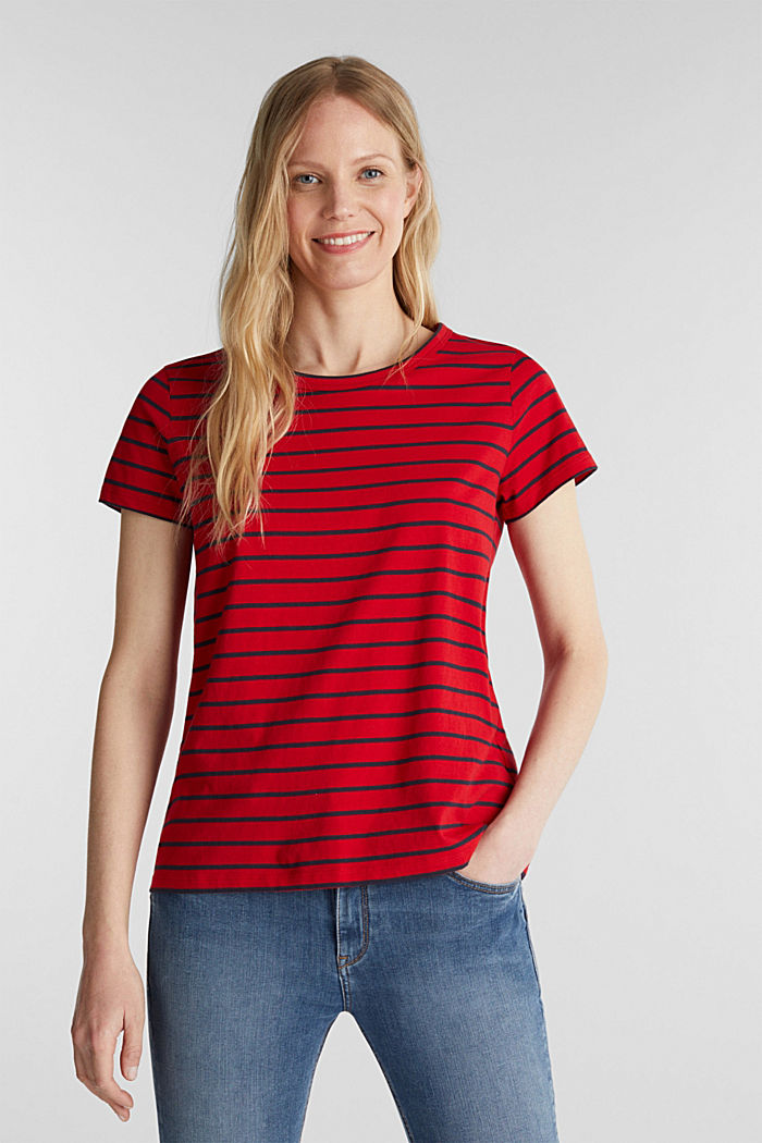 T-shirt with stripes, 100% cotton, DARK RED, detail image number 0