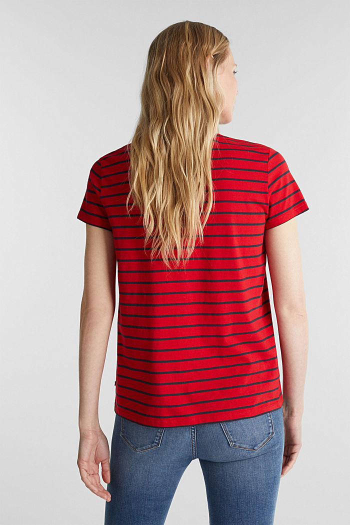 T-shirt with stripes, 100% cotton, DARK RED, detail image number 3