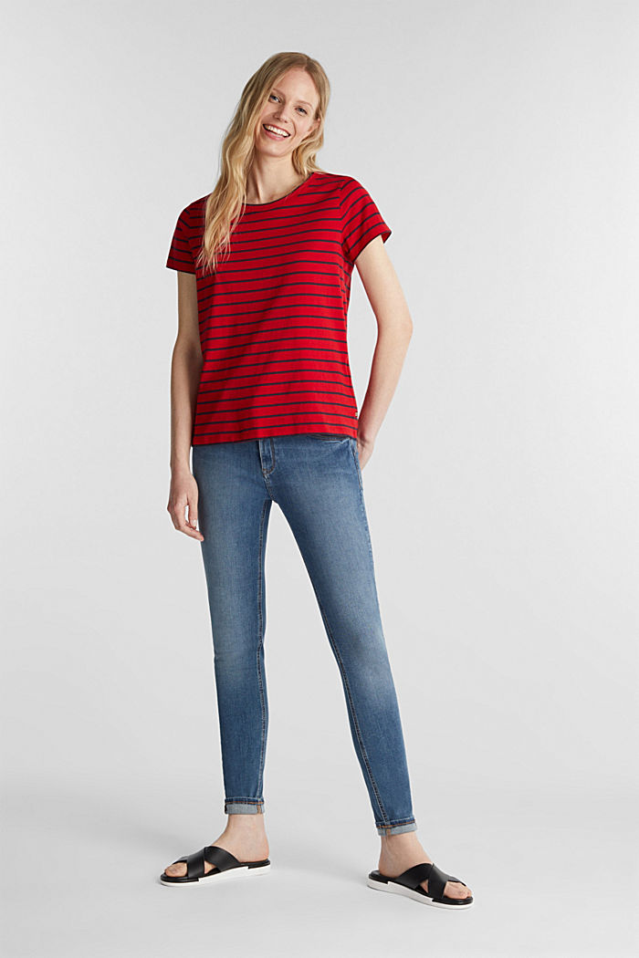 T-shirt with stripes, 100% cotton, DARK RED, detail image number 1