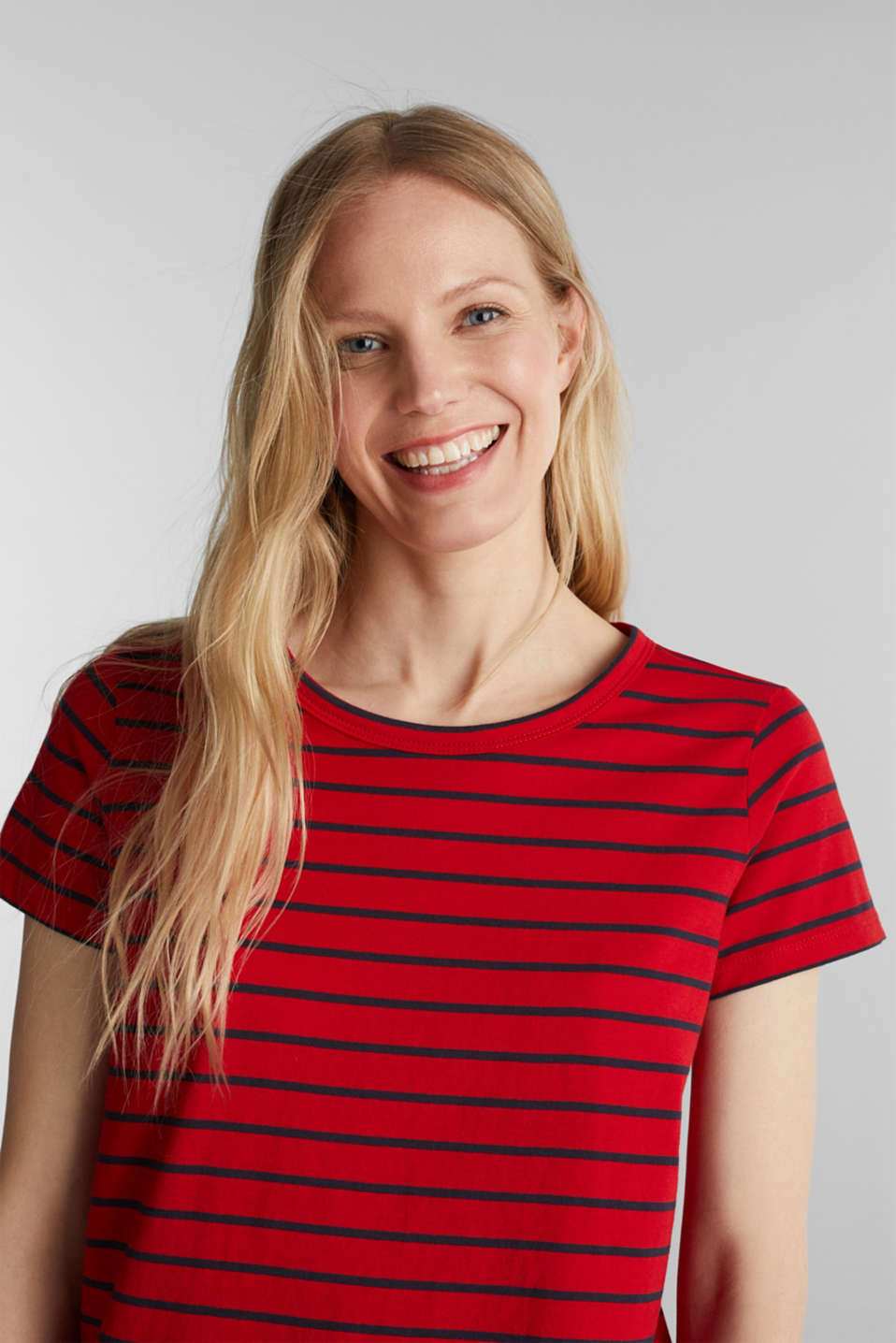 T-shirt with stripes, 100% cotton, DARK RED, detail image number 5