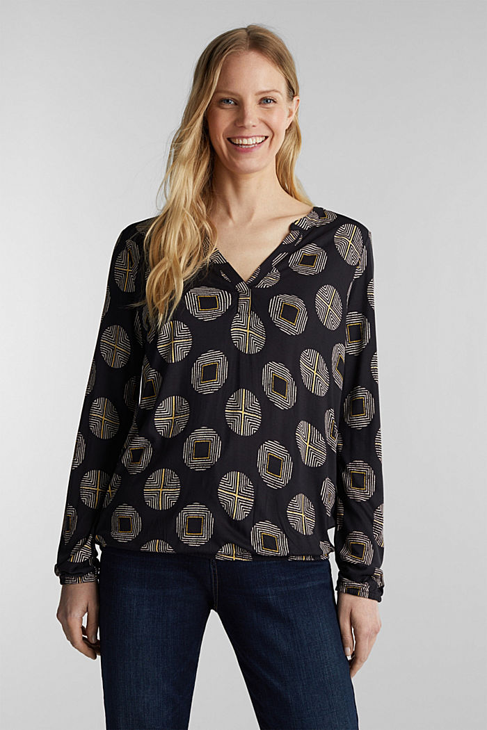 Printed long sleeve top with elastication, BLACK, detail image number 0