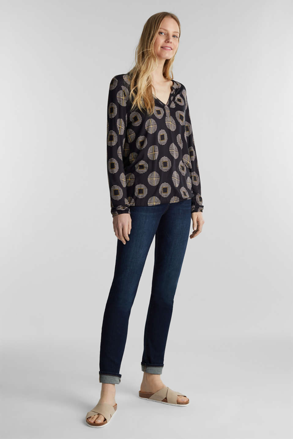 Printed long sleeve top with elastication, BLACK, detail image number 1