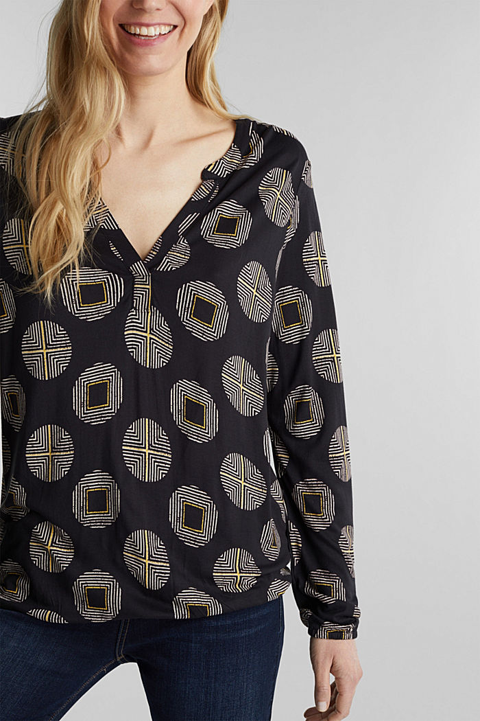 Printed long sleeve top with elastication, BLACK, detail image number 2