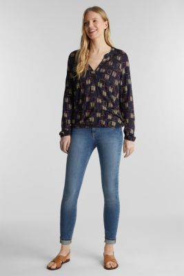 Printed long sleeve top with elastication, NAVY, detail