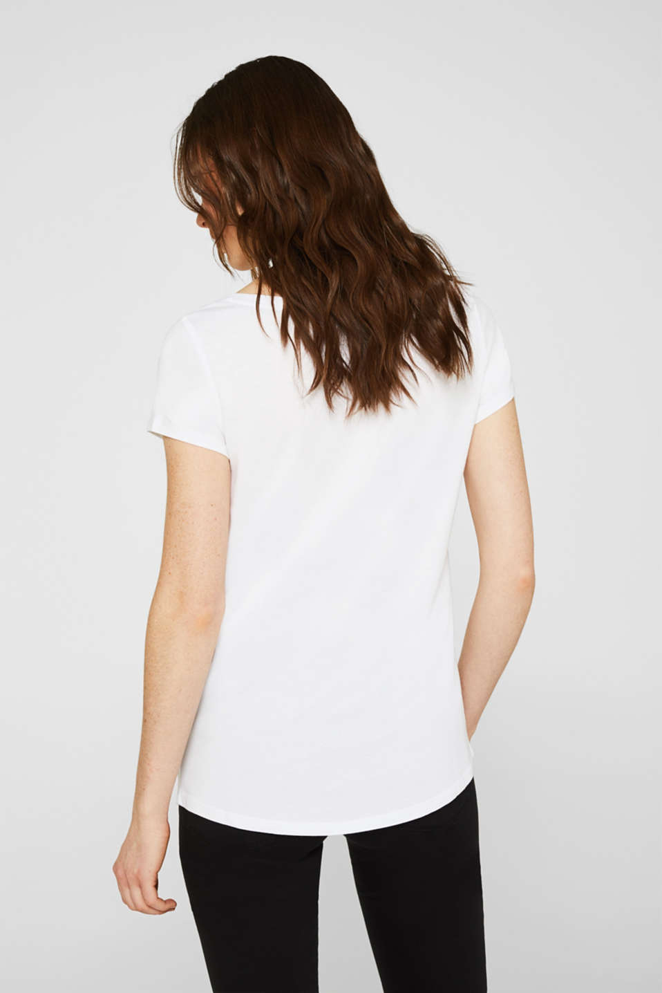 Double pack of T-shirts made of cotton and modal, WHITE, detail image number 2