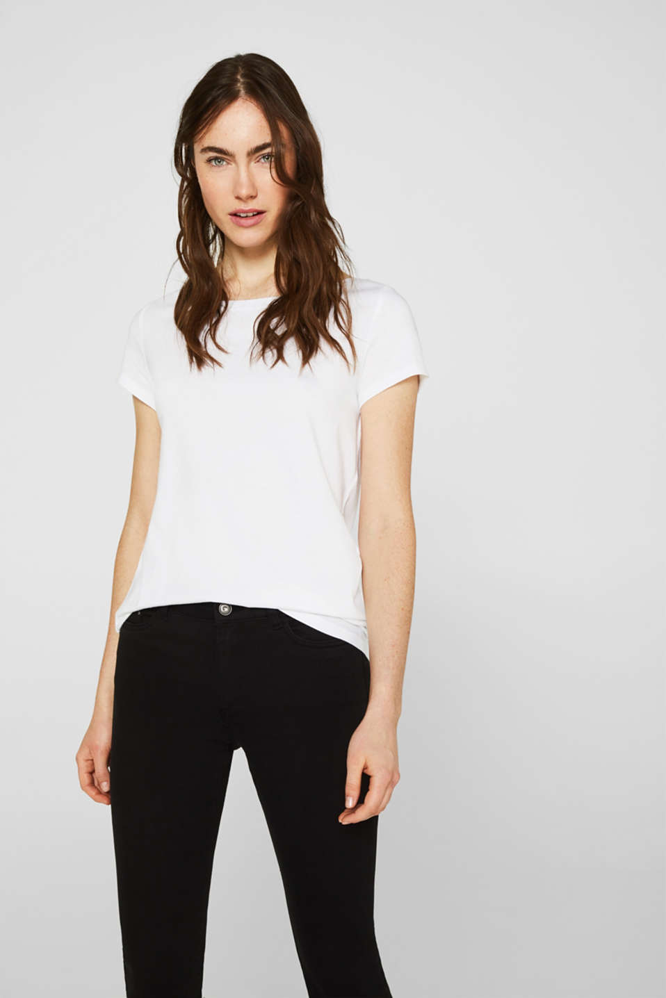 Double pack of T-shirts made of cotton and modal, WHITE, detail image number 4