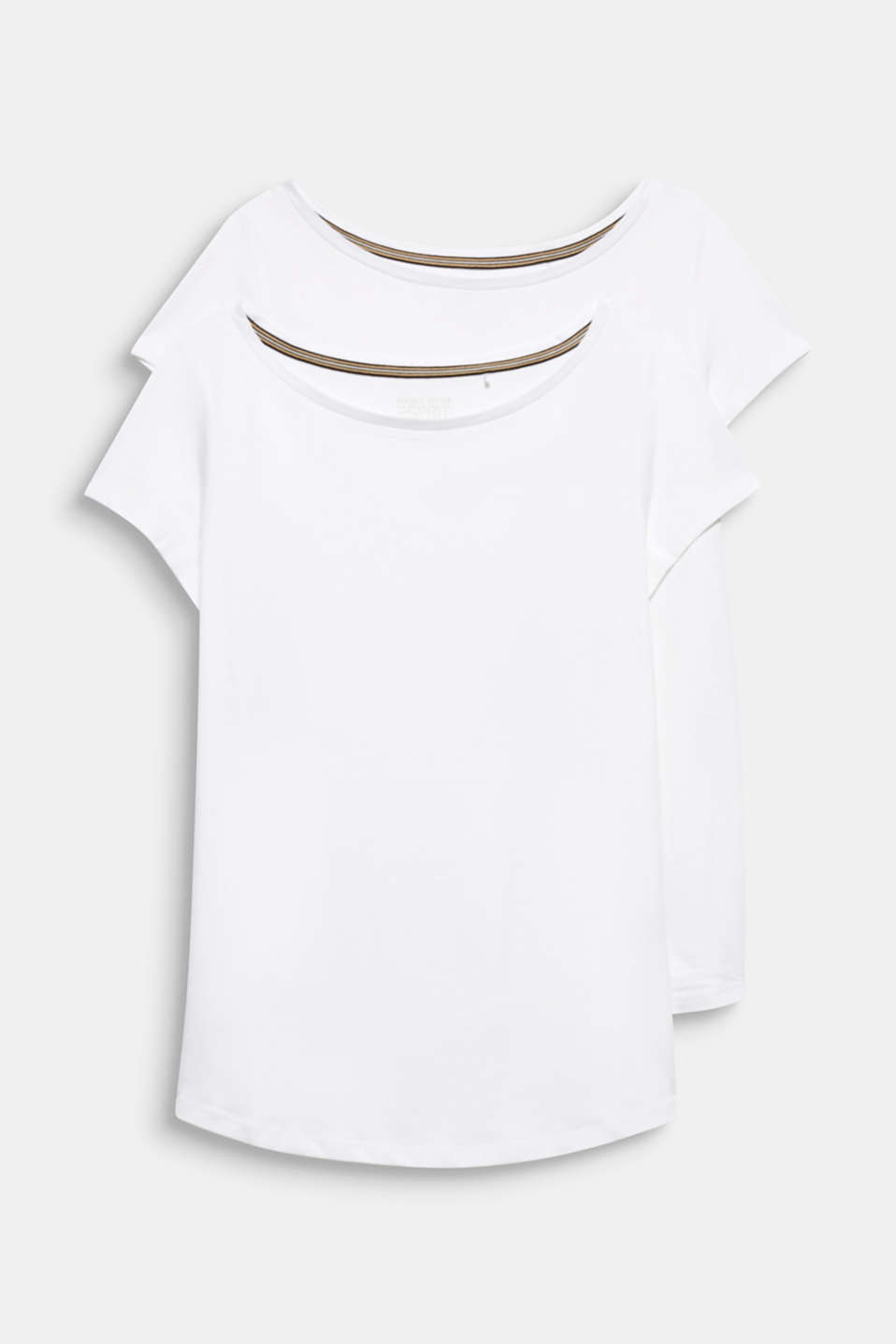 Double pack of T-shirts made of cotton and modal, WHITE, detail image number 5