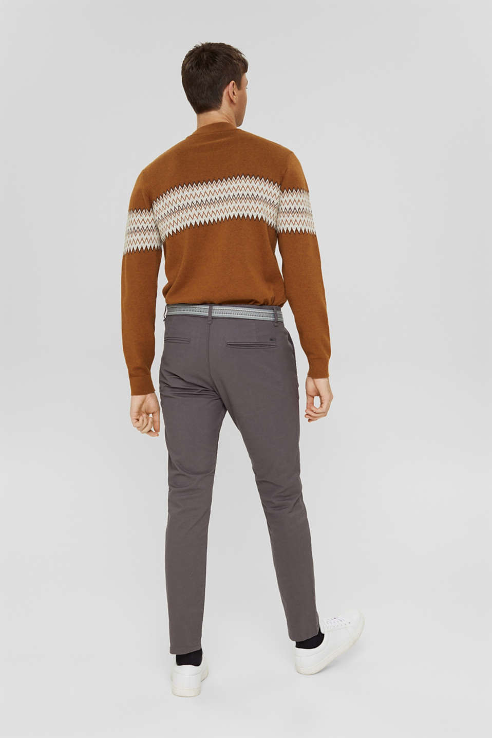 Stretch chinos with a belt, DARK GREY, detail image number 3
