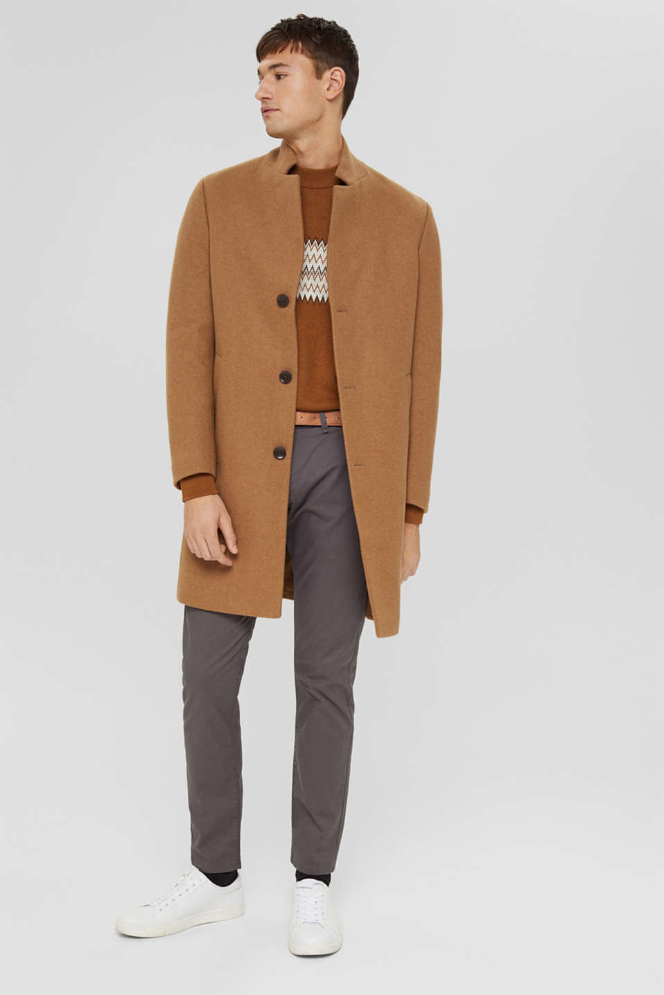 Stretch chinos with a belt, DARK GREY, detail image number 1