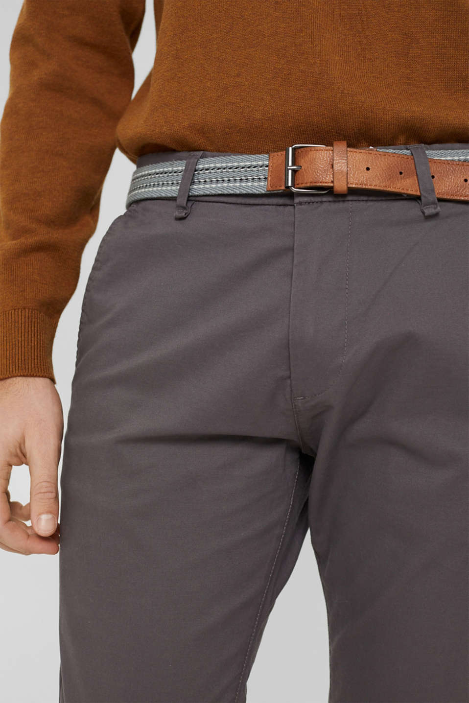 Stretch chinos with a belt, DARK GREY, detail image number 2
