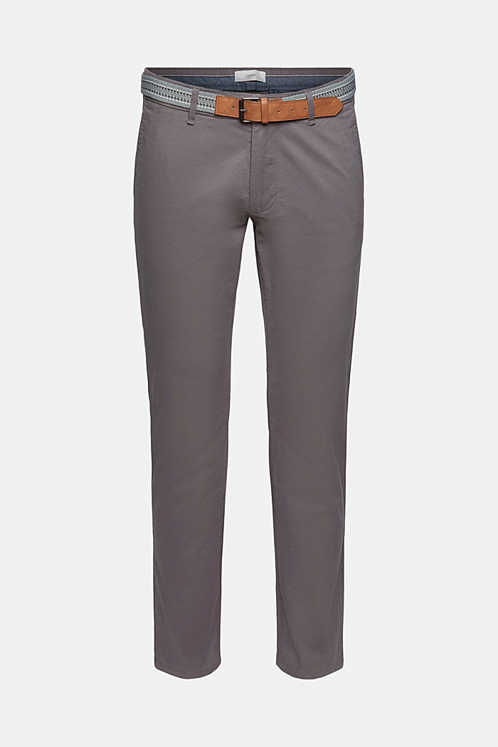 Stretch chinos with a belt, DARK GREY, detail image number 0