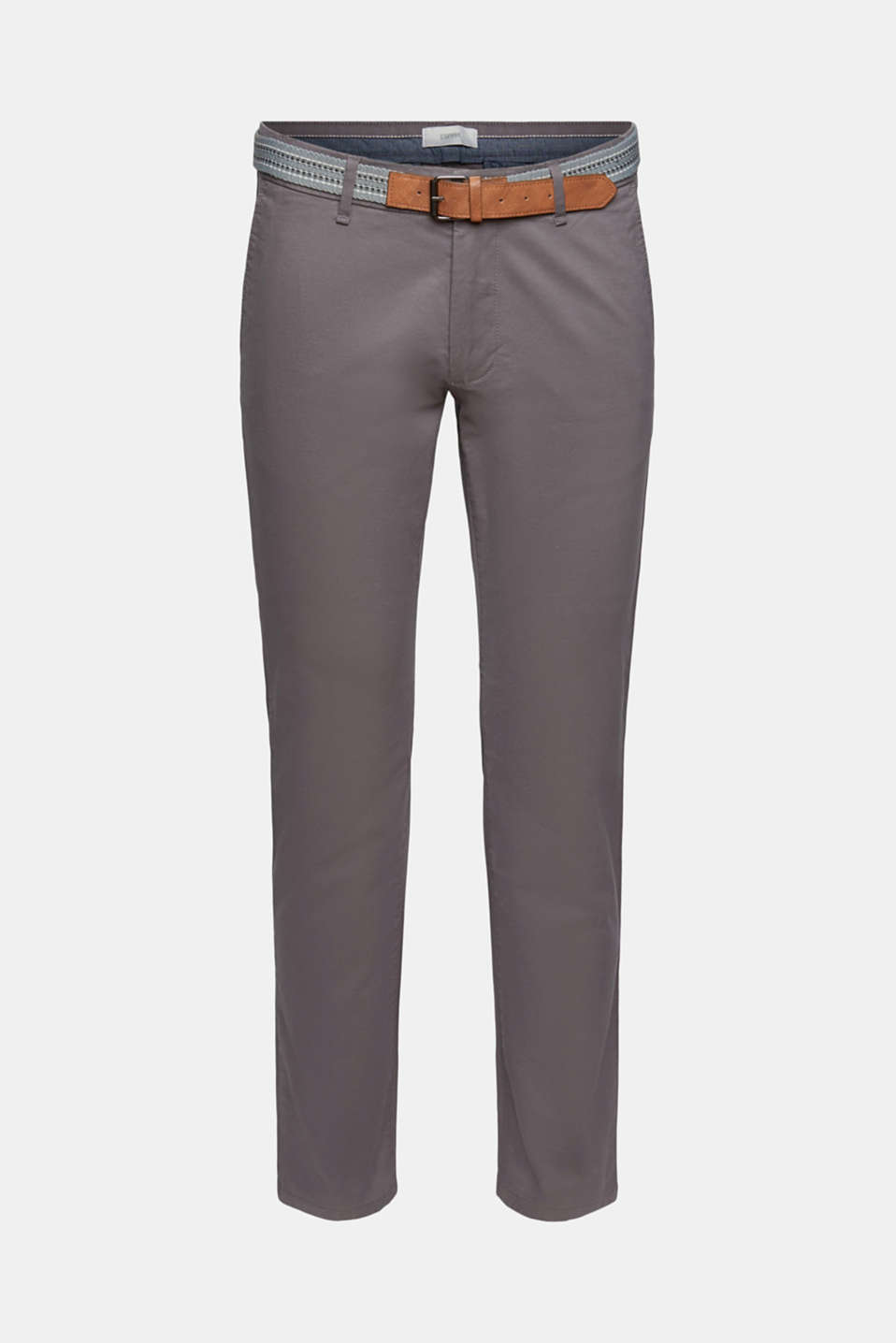 Stretch chinos with a belt, DARK GREY, detail image number 5