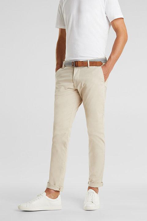 Stretch cotton chinos with a belt