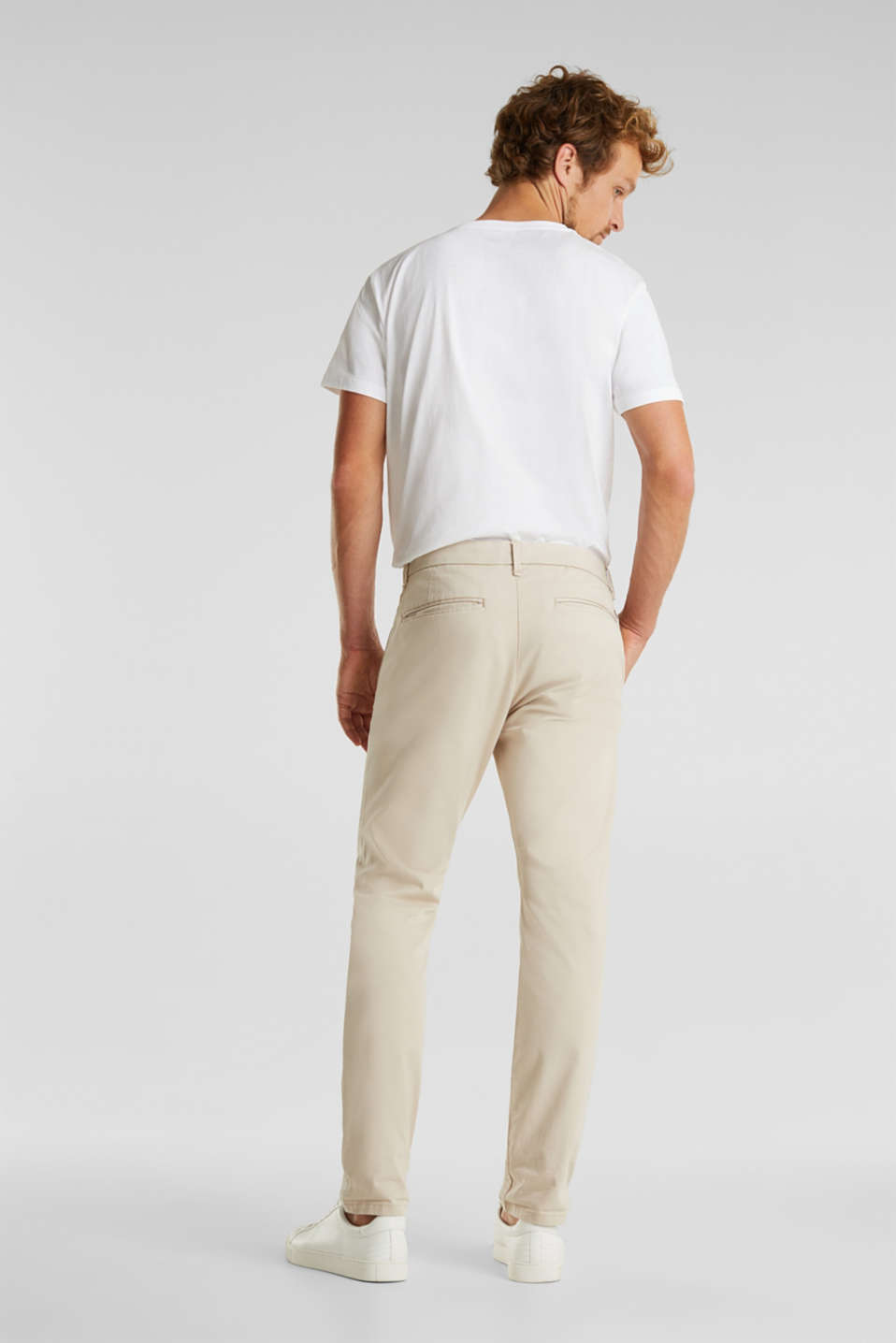 Stretch cotton chinos with a belt, LIGHT BEIGE, detail image number 3