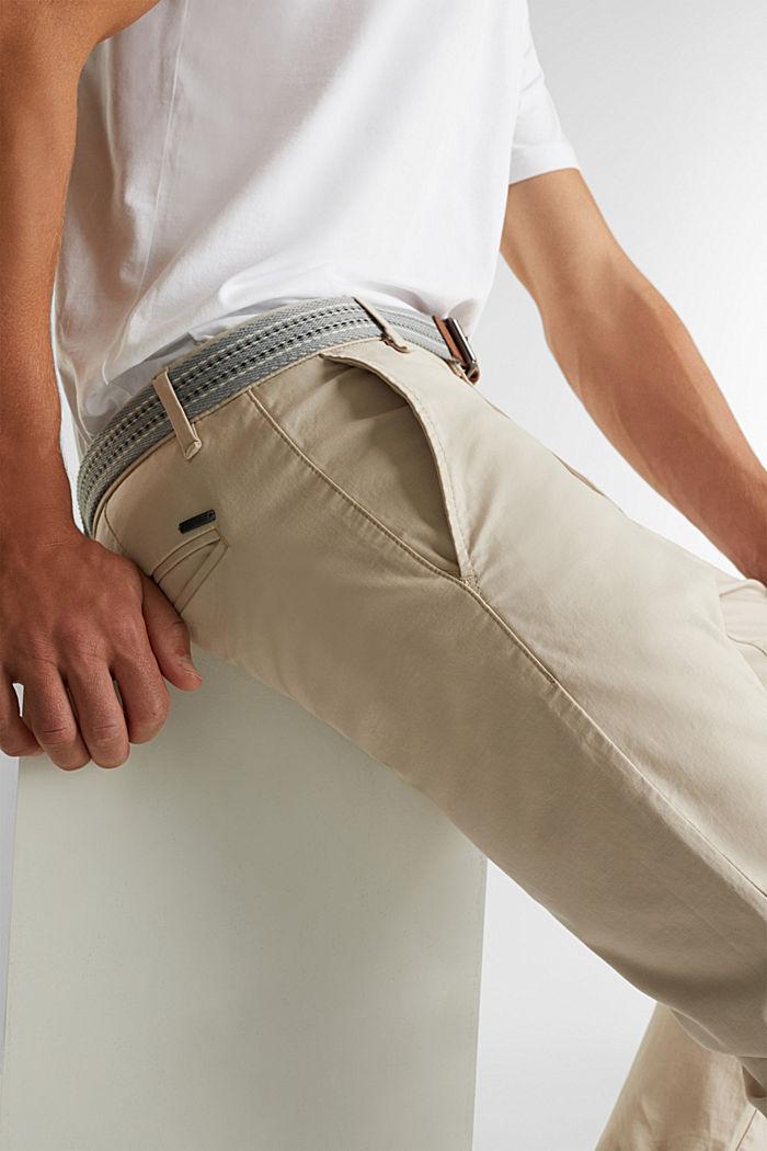 Stretch-Chino mit Gürtel, LIGHT BEIGE, detail image number 2