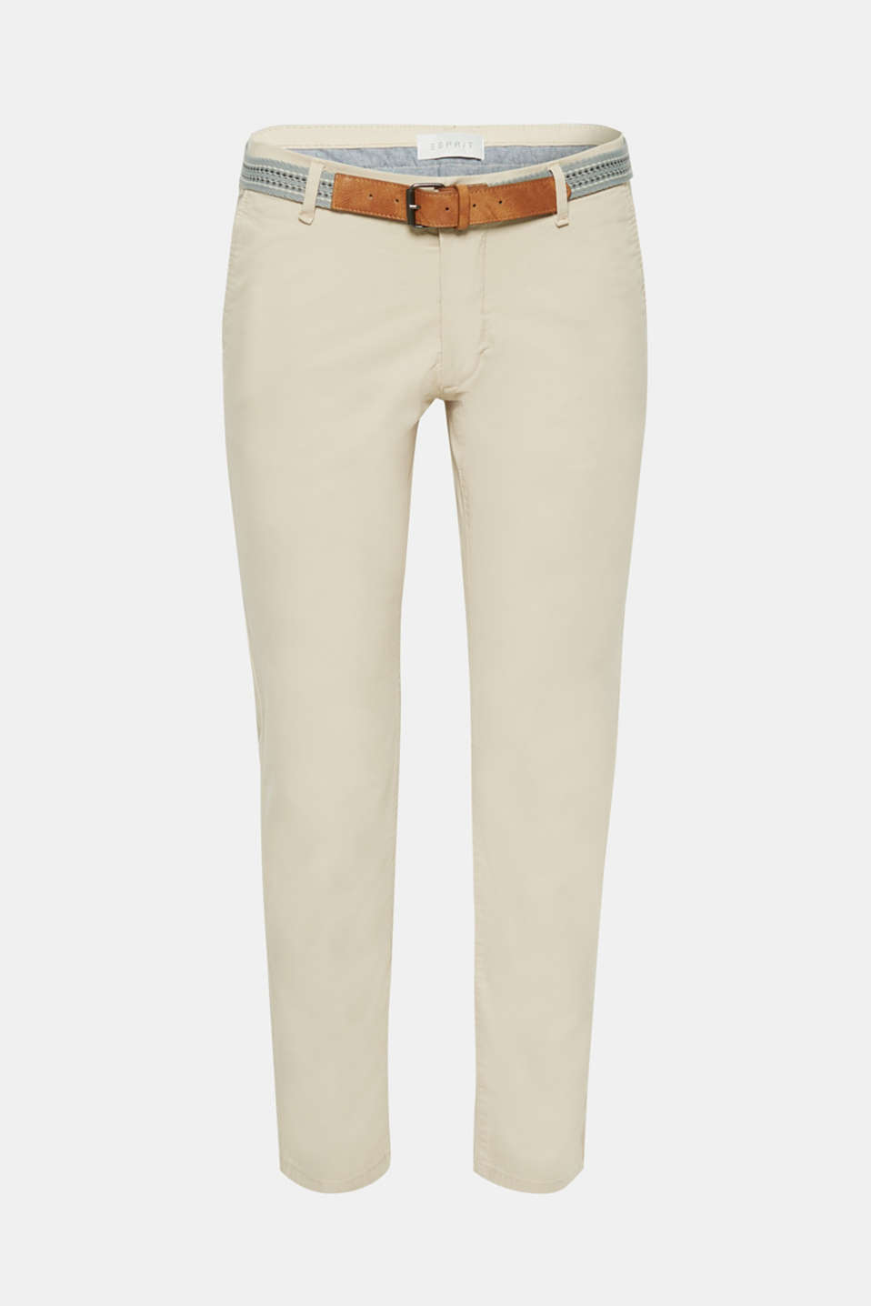 Stretch cotton chinos with a belt, LIGHT BEIGE, detail image number 7