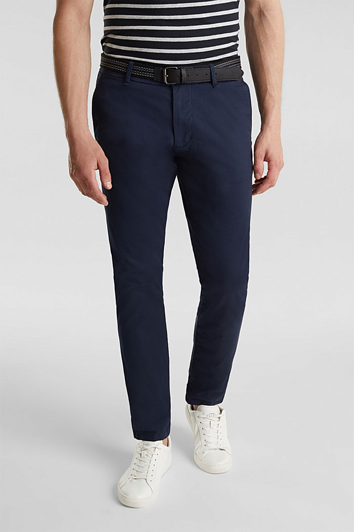 Stretch chinos with a belt