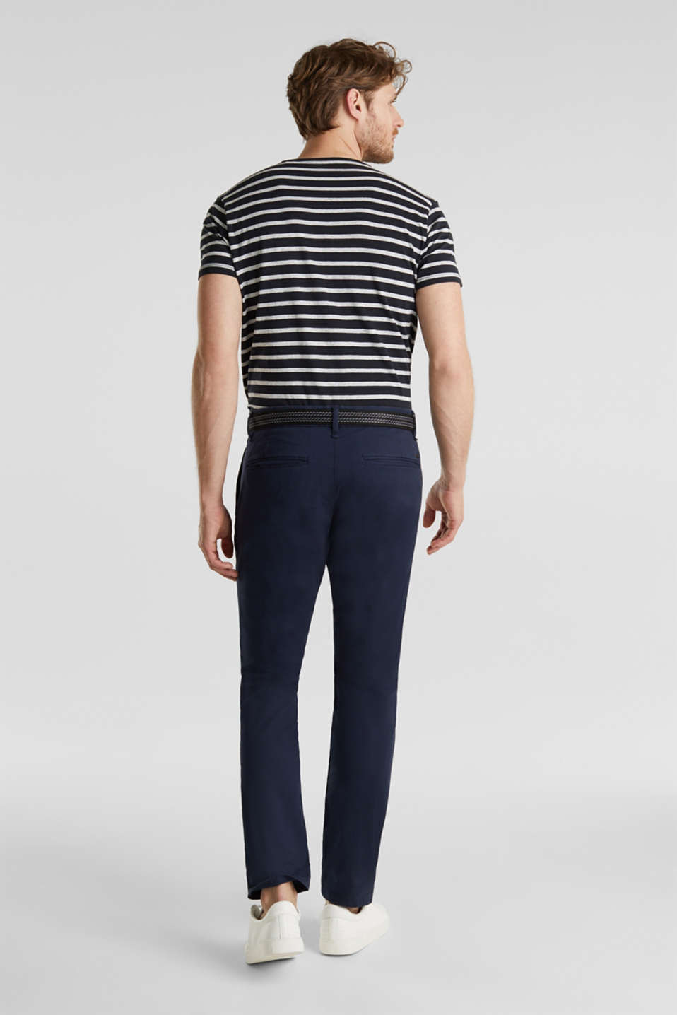Stretch cotton chinos with a belt, NAVY, detail image number 3