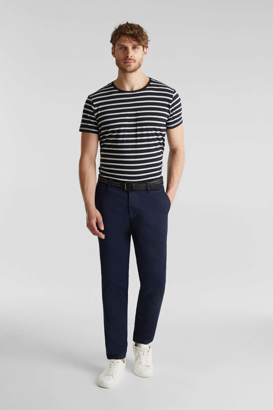 Stretch chinos with a belt, NAVY, detail image number 6