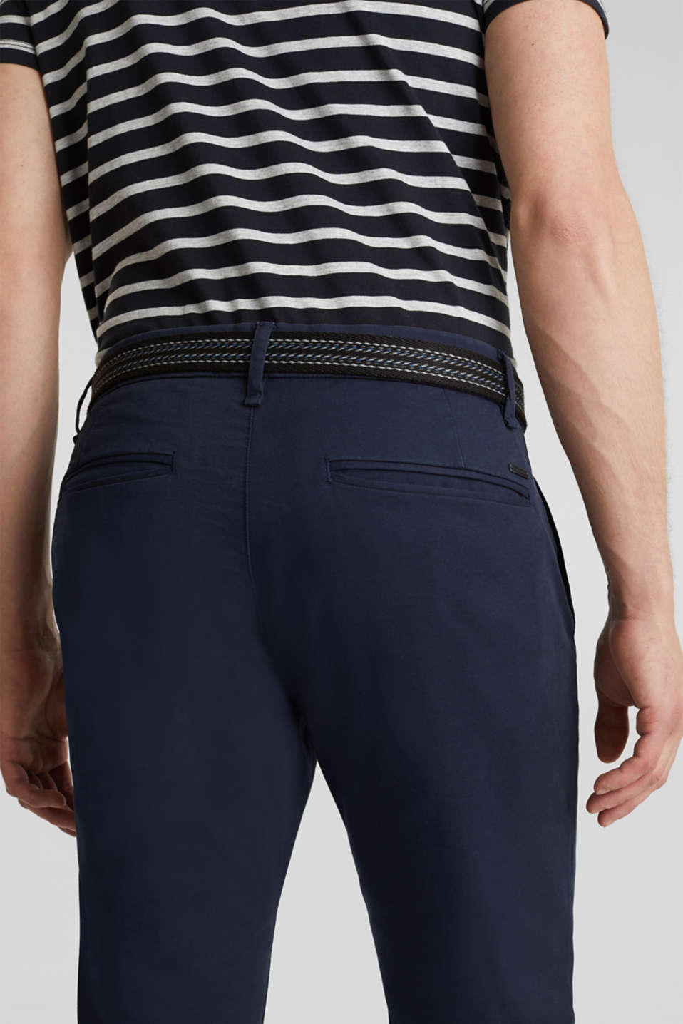 Stretch cotton chinos with a belt, NAVY, detail image number 2