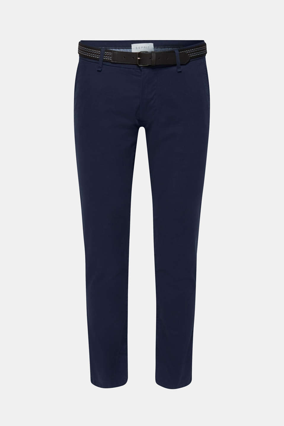 Stretch cotton chinos with a belt, NAVY, detail image number 6