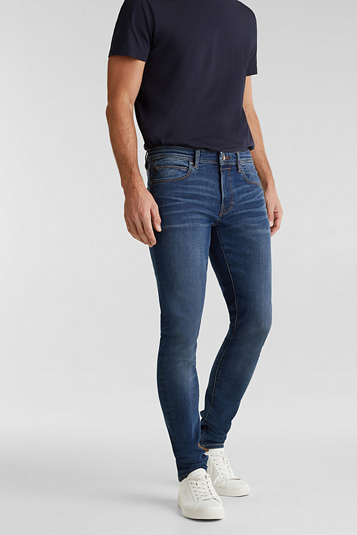 Super stretch jeans with whiskering, BLUE DARK WASHED, detail image number 0