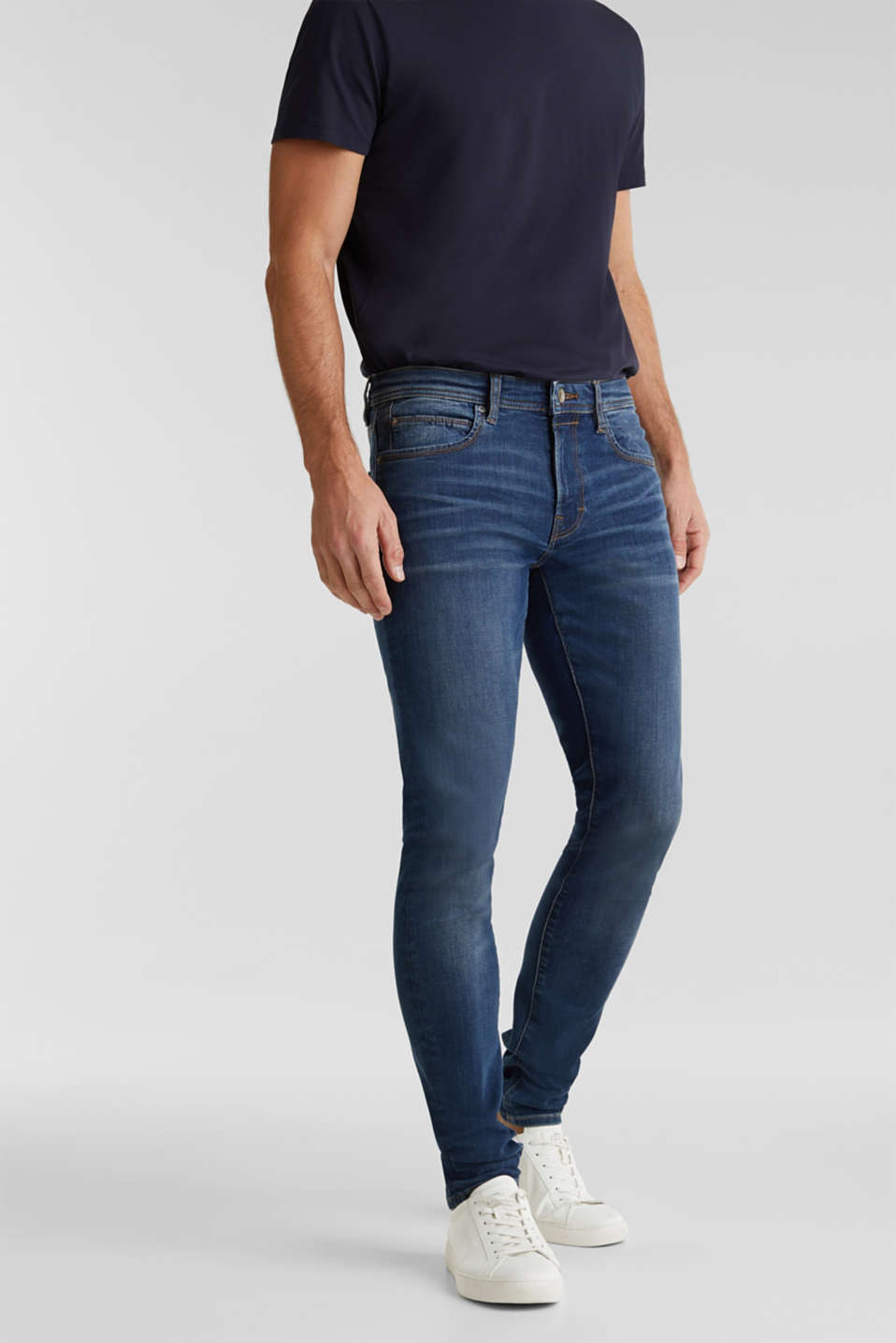 Esprit - Superstretch-Jeans mit Wrinkle-Effekt