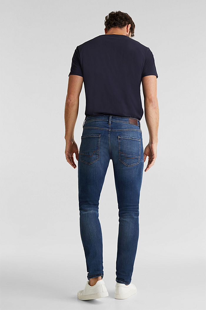 Super stretch jeans with whiskering, BLUE DARK WASHED, detail image number 1