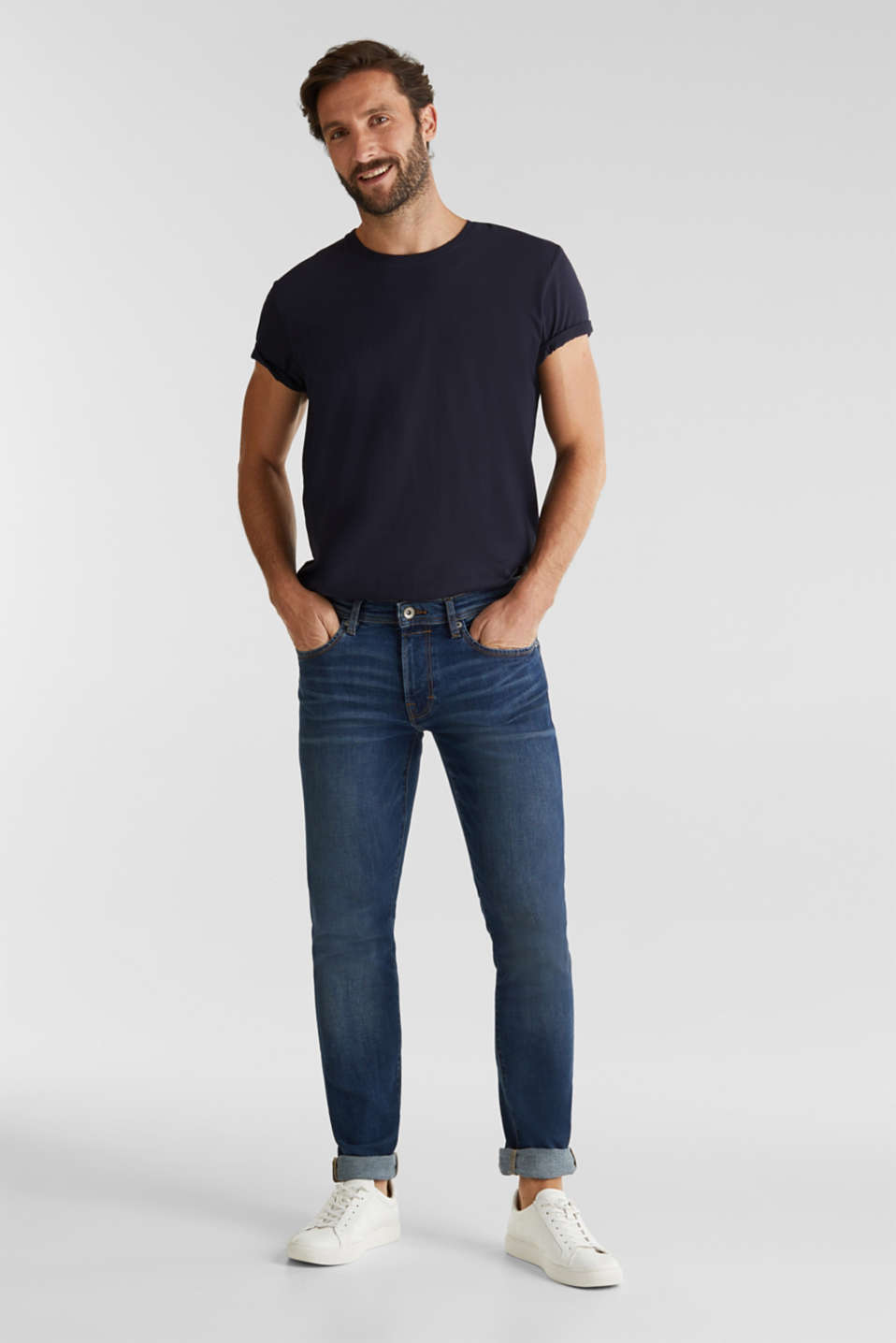 Super stretch jeans with whiskering, BLUE DARK WASH, detail image number 2