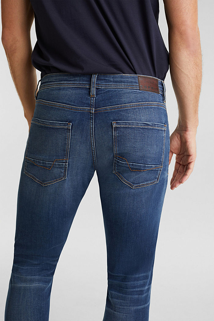 Super stretch jeans with whiskering, BLUE DARK WASHED, detail image number 6
