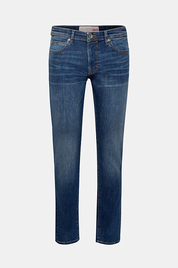 Super stretch jeans with whiskering, BLUE DARK WASHED, detail image number 7