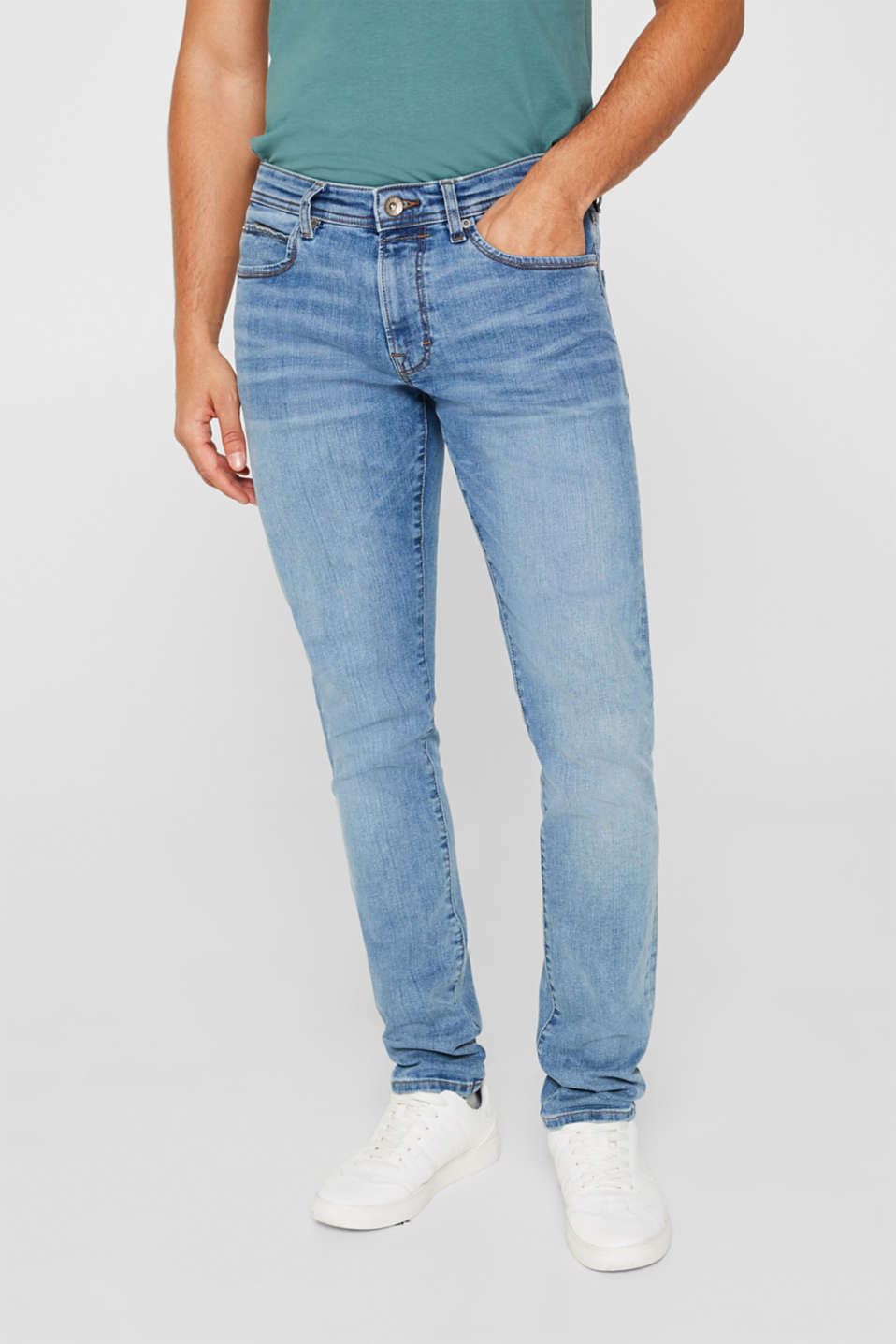 Super stretch jeans with whiskering, BLUE MEDIUM WASH, detail image number 0