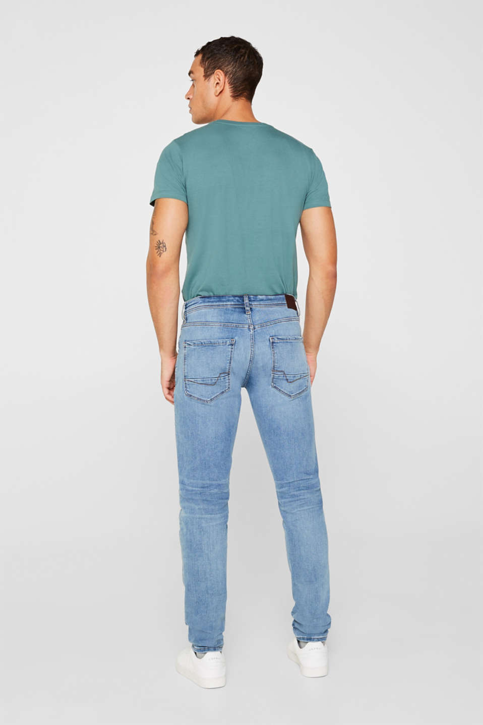 Super stretch jeans with whiskering, BLUE MEDIUM WASH, detail image number 1
