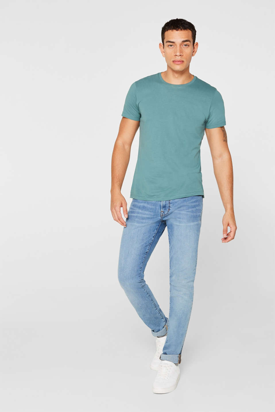 Super stretch jeans with whiskering, BLUE MEDIUM WASH, detail