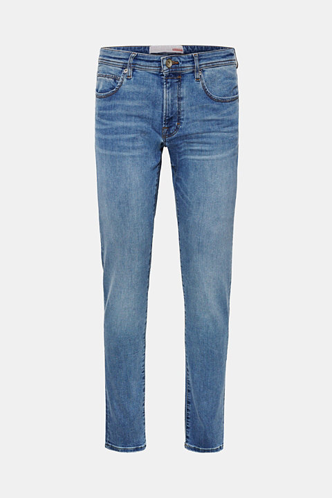 Super stretch jeans with whiskering