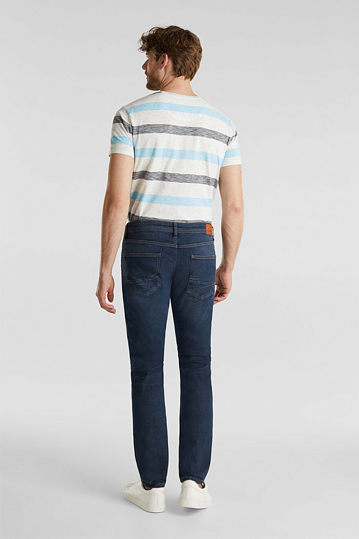 Super stretch jeans in a basic look, BLUE DARK WASHED, detail image number 1