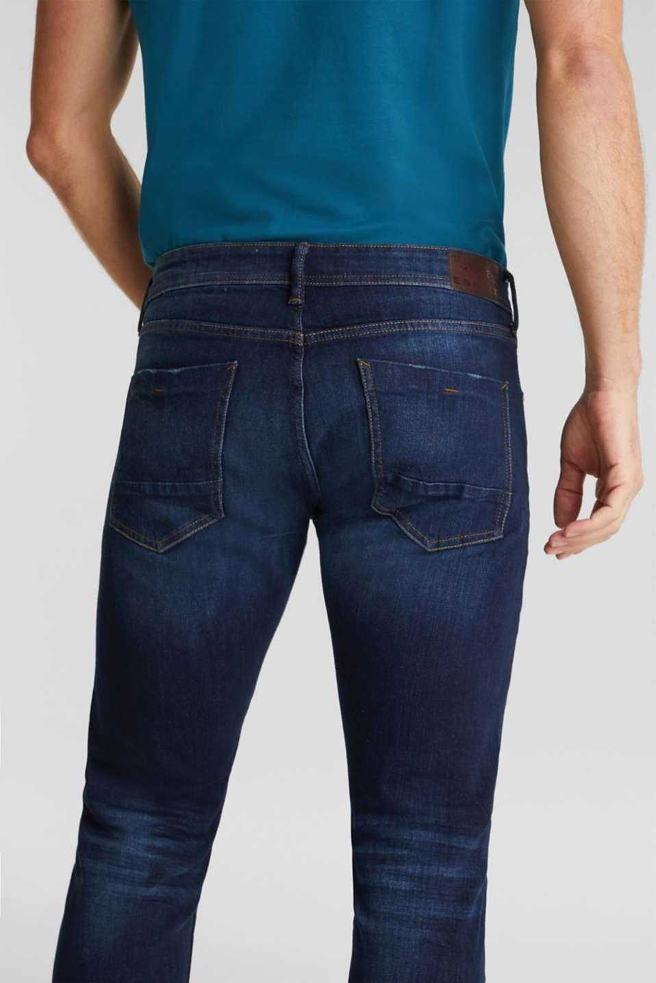 Vintage wash two-way stretch jeans, BLUE DARK WASH, detail image number 6