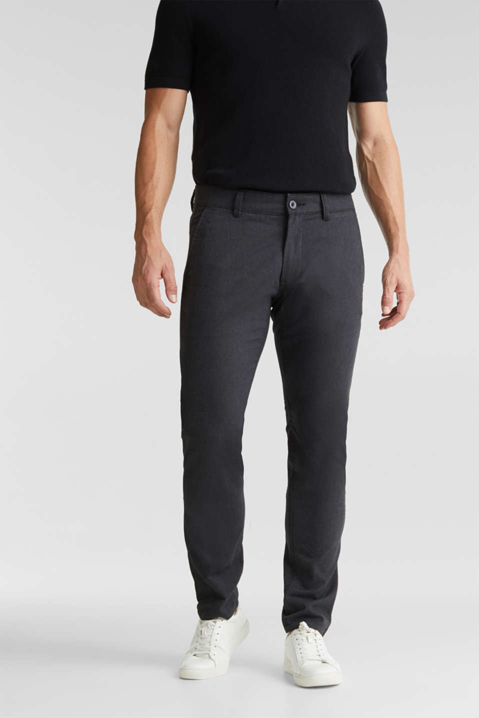 Stretch twill trousers with a belt, ANTHRACITE, detail image number 0
