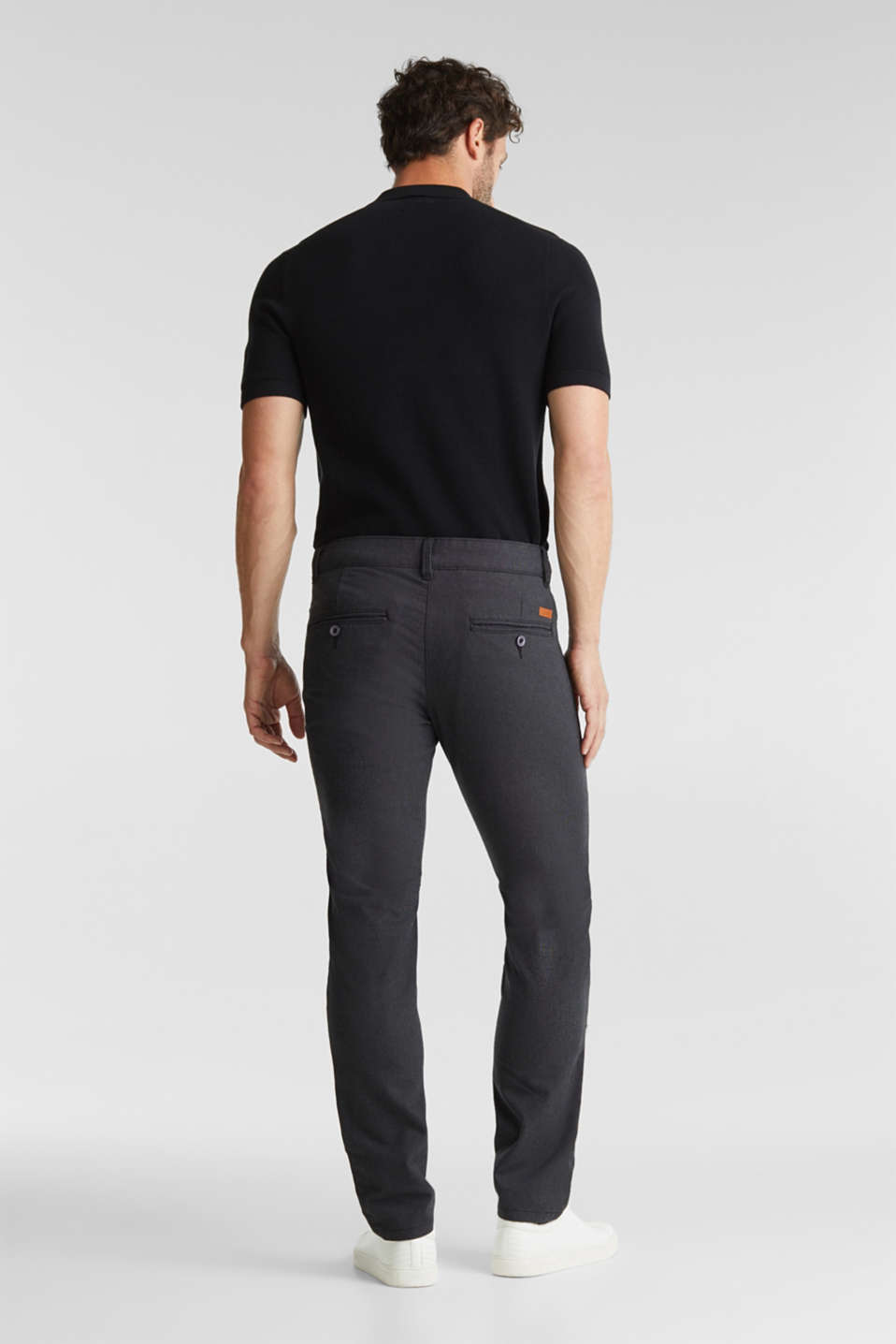 Stretch twill trousers with a belt, ANTHRACITE, detail image number 2